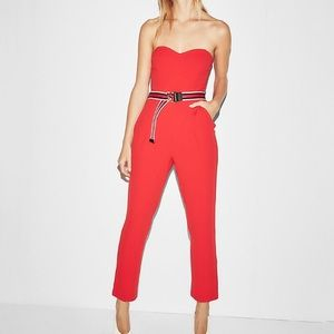 Express Red Strapless Sweetheart Neck Jumpsuit